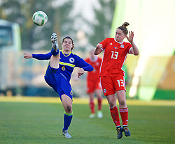 ZENICA, BOSNIA AND HERZEGOVINA - Tuesday, November 28, 2017: Bosnia and Herzegovina's Marija Aleksić and Wales' Rachel Rowe during the FIFA Women's World Cup 2019 Qualifying Round Group 1 match between Bosnia and Herzegovina and Wales at the FF BH Football Training Centre. (Pic by David Rawcliffe/Propaganda)