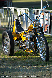 Invited Builder Ryan Mullion (The Tiger Shack, Orange, CA) and his BF6 custom Triumph trike on day one of the Born Free Vintage Chopper and Classic Motorcycle Show at the Oak Canyon Ranch in Silverado, CA. USA. Saturday, June 28, 2014.  Photography ©2014 Michael Lichter.