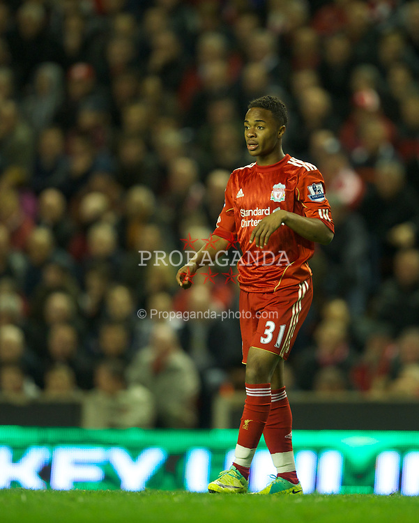 LIVERPOOL, ENGLAND - Tuesday, May 1, 2012: Liverpool's substitute Raheem Sterling, making only his second appearance for the club, in action against Fulham during the Premiership match at Anfield. (Pic by David Rawcliffe/Propaganda)