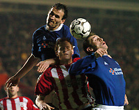 Picture: Henry Browne.<br /> Date: 07/01/2004.<br /> Southampton v Leicester City FA Barclaycard Premiership.<br /> <br /> Steve Howey and James Scowcroft clear the ball from Michael Svensson.