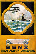 Otto Albert Koch (1866-1920), German graphic artist. Mercedes Benz Automobile advertisement: Land, water, air: In addition to Benz automobiles, this poster of 1918 is advertising aero and marine engines.