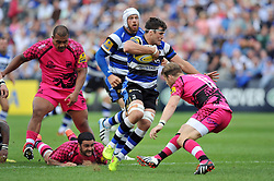 Guy Mercer of Bath Rugby takes on the London Welsh defence - Photo mandatory by-line: Patrick Khachfe/JMP - Mobile: 07966 386802 13/09/2014 - SPORT - RUGBY UNION - Bath - The Recreation Ground - Bath Rugby v London Welsh - Aviva Premiership