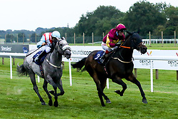 Awsaaf ridden by Franny Norton trained by Michael Wigham and Thegreyvtrain ridden by Marco Ghiani trained by Ronald Harris in the Visit Valuerater.co.uk for Best Free Tips Handicap - Mandatory by-line: Robbie Stephenson/JMP - 27/08/2019 - PR - Bath Racecourse - Bath, England - Race Meeting at Bath Racecourse