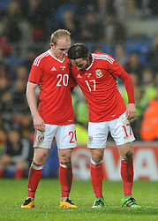 Jonathan Williams of Wales speaks with Joe Allen of Wales - Mandatory by-line: Dougie Allward/JMP - Mobile: 07966 386802 - 24/03/2016 - FOOTBALL - Cardiff City Stadium - Cardiff, Wales - Wales v Northern Ireland - Vauxhall International Friendly
