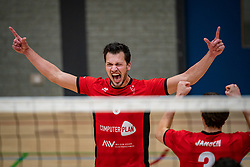 Thomas Boerefijn of VCN celebrate during the league match ComputerPlan VCN - RECO ZVH on January 16, 2021 in Capelle aan de IJssel.