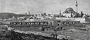 General View of Akka [Acre] from the North-East, Carmel in the Distance on the right is the Great Mosque of Jezzar Pasha [al-Jazzar mosque] Wood engraving of from 'Picturesque Palestine, Sinai and Egypt' by Wilson, Charles William, Sir, 1836-1905; Lane-Poole, Stanley, 1854-1931 Volume 3. Published in by J. S. Virtue and Co 1883
