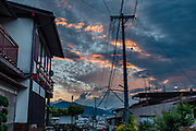 """Sunset. The city of Takayama (""""tall mountain"""") lies in the heart of the Japan Alps, in the Hida region of Gifu Prefecture. Commonly differentiated as Hida-Takayama, city has the largest geographic area of any municipality in Japan."""