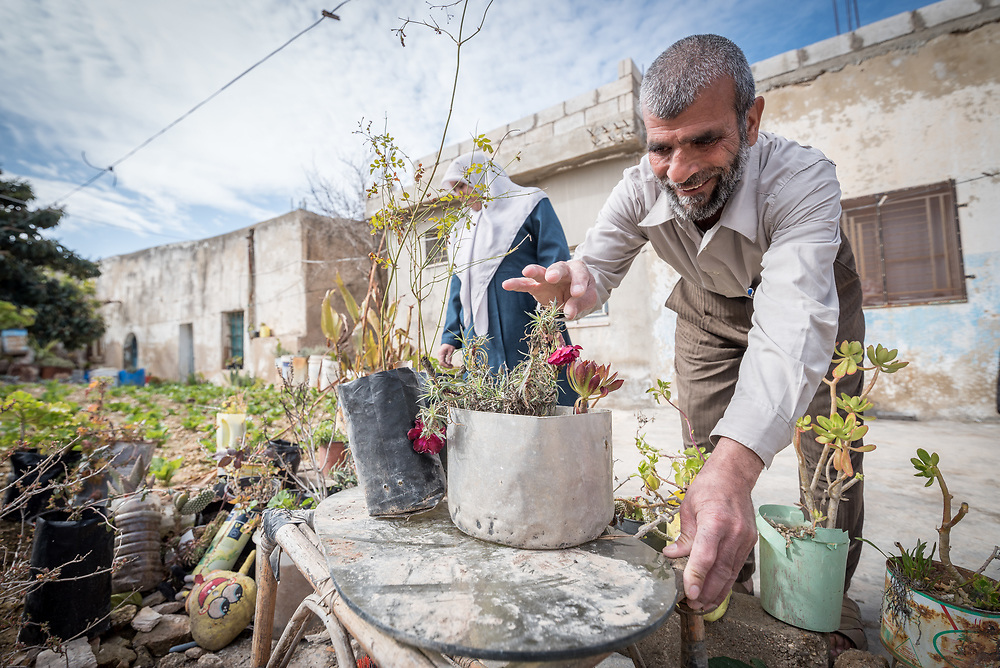 16 February 2020, Irbid, Jordan: Mahmoud Al-Omari works in his garden in Al-Mazar. He is one of many beneficiaries to recently have received support from the LWF in setting up home-based farming in the area of Al-Mazar. By providing tools and seeds, the project has helped 150 families grow food for themselves and, in some cases, also earn an income from selling their surplus at local markets.