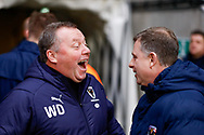 Wimbledon Manager Wally Downes and Coventry City Manager Mark Robins  during the EFL Sky Bet League 1 match between Coventry City and AFC Wimbledon at the Ricoh Arena, Coventry, England on 12 January 2019.