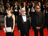 Actress, Rin Takanashi and Actor, Tadashi Okuno, Director and scriptwriter Abbas Kiarostami,  at the Like Someone In Love gala screening at the 65th Cannes Film Festival France. Monday 21st May 2012 in Cannes Film Festival, France.