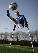 Amputee Footballer Brian Murray enjoys a training session at Patrick Thistle's training ground. PR Shot for Finding Your Feet Charity