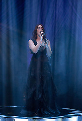 """Lucie Jones performing the UK's Eurovision entry, """"Never Give Up on You"""" during the filming of the Graham Norton Show at The London Studios, to be aired on BBC One on Friday."""