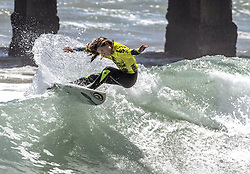 July 3, 2017 - Huntington Beach, CA, USA - Ella McCaffray surfs her way to the girls top title in the NSSA Surf National Championships on Monday July 3, 2017 in Huntington Beach during. (Credit Image: © Ana Venegas/The Orange County Register via ZUMA Wire)