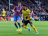 Football - 2019 / 2020 Premier League - Crystal Palace vs. Arsenal<br /> <br /> Pierre - Emerick Aubameyamg of Arsenal and Martin Kelly, at Selhurst Park.<br /> <br /> COLORSPORT/ANDREW COWIE
