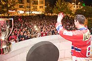 Cyrill Geyer winkt den Fans zu, die SC Rapperswil-Jona Lakers lassen sich am Fruehlingsfest Jona feiern, am 27. April 2018 nach der erfolgreichen Saison als Cupsieger, Swiss League Meister und Aufsteiger in die National League, bei der St. Galler Kantonalbank Arena. (Thomas Oswald)