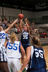 21 June 2008:  Lauren Budde #22 can't stop the shot by Megan Considine #35. IBCA ( Illinois Coaches Basketball Association) Girls Class 1 & 2 All Star Game held at the Shirk Center on the Campus of Illinois Wesleyan University in Bloomington Illinois
