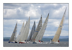 Sailing - The 2007 Bell Lawrie Scottish Series hosted by the Clyde Cruising Club, Tarbert, Loch Fyne..The final days racing had cold steady Northerly breeze to decide the overall placings...IRC Class 2 Start with Rosie Blondie and First by Farr.