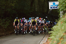 Grace Brown (AUS) leads the bunch at the 2020 Brabantse Pijl - Elite Women, a 121 km road race from Lennik to Overijse, Belgium on October 7, 2020. Photo by Sean Robinson/velofocus.com