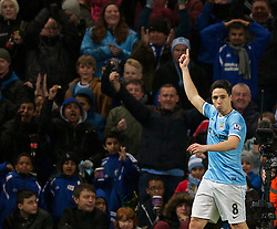 15.02.2014, Etihad Stadion, Manchester, ESP, FA Cup, Manchester City vs FC Chelsea, Achtelfinale, im Bild Manchester City's Samir Nasri celebrates scoring the second goal against Chelsea // during the English FA Cup Round of last 16 Match between Manchester City and FC Chelsea at the Etihad Stadion in Manchester, Great Britain on 2014/02/15. EXPA Pictures © 2014, PhotoCredit: EXPA/ Propagandaphoto/ David Rawcliffe<br /> <br /> *****ATTENTION - OUT of ENG, GBR*****