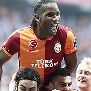 Galatasaray's Tebily Didier Yves Drogba celebrate goal during their Turkish superleague soccer derby match Galatasaray between Trabzonspor at the AliSamiYen spor kompleksi TT Arena in Istanbul Turkey on Saturday, 18 May 2013. Photo by Aykut AKICI/TURKPIX