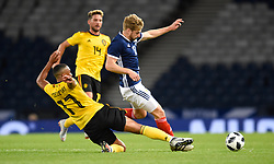 Belgium's Youri Tielemans (left) and Scotland's Stuart Armstrong battle for the ball during the International Friendly at Hampden Park, Glasgow. PRESS ASSOCIATION Photo. Picture date: Friday September 7, 2018. See PA story SOCCER Scotland. Photo credit should read: Ian Rutherford/PA Wire. RESTRICTIONS: Use subject to restrictions. Editorial use only. Commercial use only with prior written consent of the Scottish FA.