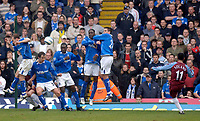 Photo. Glyn Thomas, Digitalsport<br /> Birmingham City v Aston Villa <br /> Barclays Premiership. 20/03/2005.<br /> Aston Villa's Nolberto Solano (R) comes close in the first half with a free kick, but Birmingham's defence somehow keep the ball out.