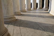 The marble pillars at the Jefferson Memorial in Washington DC.