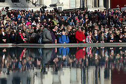 Two minutes' silence is observed during an event in London's Trafalgar Square to mark Armistice Day.