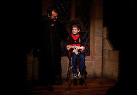 """Jack Bradbury is greeted by Jeremy Benson, an exhibit host at the """"Harry Potter"""" exhibition at Discovery Times in New York. ..Photo by Robert Caplin."""