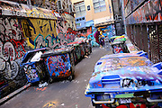 Ever-changing graffiti in Hosier Lane, Melbourne, Australia
