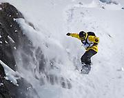 Alaska. Serge Nefedov extreme snowboarder at the 2010 World telemark free-ski championships at the Telepalooza event, at Alyeska Ski Resort, Girdwood.