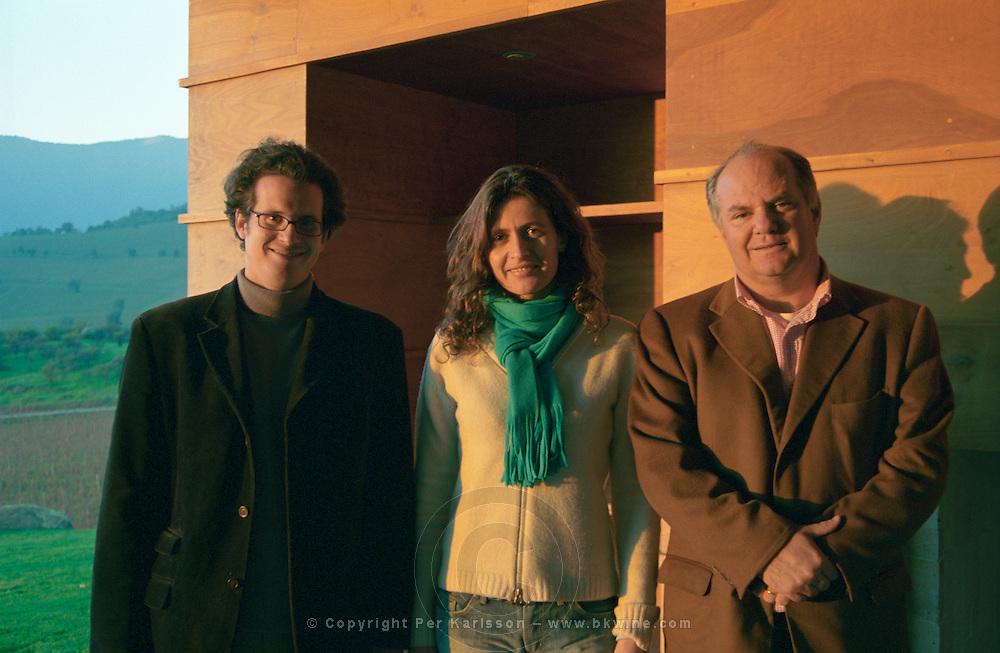 Francois Walewski, VP International Sales, Ana Maria Cumsille U., winemaker, Juan P Solis de Ovanido Lavin, Managing Director. Bodega Altair, Region del Maule, Chile