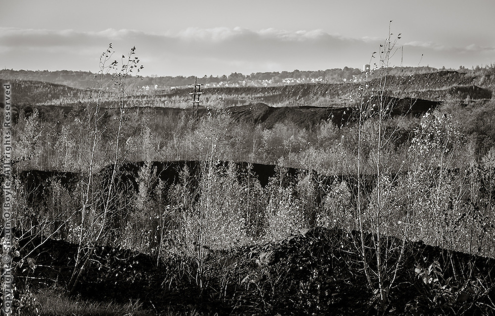 View across strip mining area
