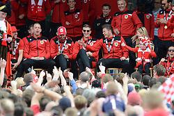 Bristol City's Aaron Wilbraham, Greg Cunningham, Aden Flint, and Dave Richards celebrate during the celebration tour  - Photo mandatory by-line: Dougie Allward/JMP - Mobile: 07966 386802 - 04/05/2015 - SPORT - Football - Bristol -  - Bristol City Celebration Tour