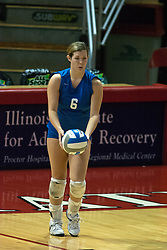 26 September 2006: Billikens Sarah Entzeroth prepares to serve. The match was tough and it took the Illinois State Redbirds 5 games to defeat the St. Louis University Billikens. The match took place at Redbird Arena on the campus of Illinois State University in Normal Illinois.