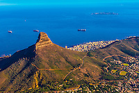View of Lion's Head Mountain from top of Table Mountain, Table Mountain National Park, Cape Town, South Africa.