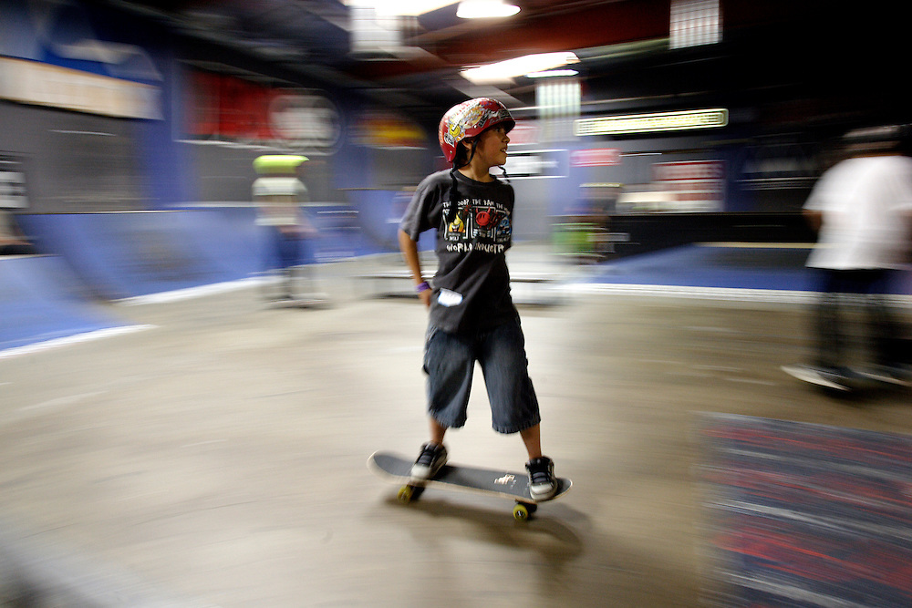 SIMI VALLEY, CA, August 15, 2006:  Skateboarders skate at Skatelab, an indoor skate park,  in Simi Valley, CA on August 15, 2006. (Photograph by Todd Bigelow/Aurora)...