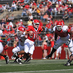 Apr 18, 2009; Piscataway, NJ, USA; Rutgers QB Domenic Natale (11) scramble away from pressure during the second half of Rutgers' Scarlet and White spring football scrimmage.