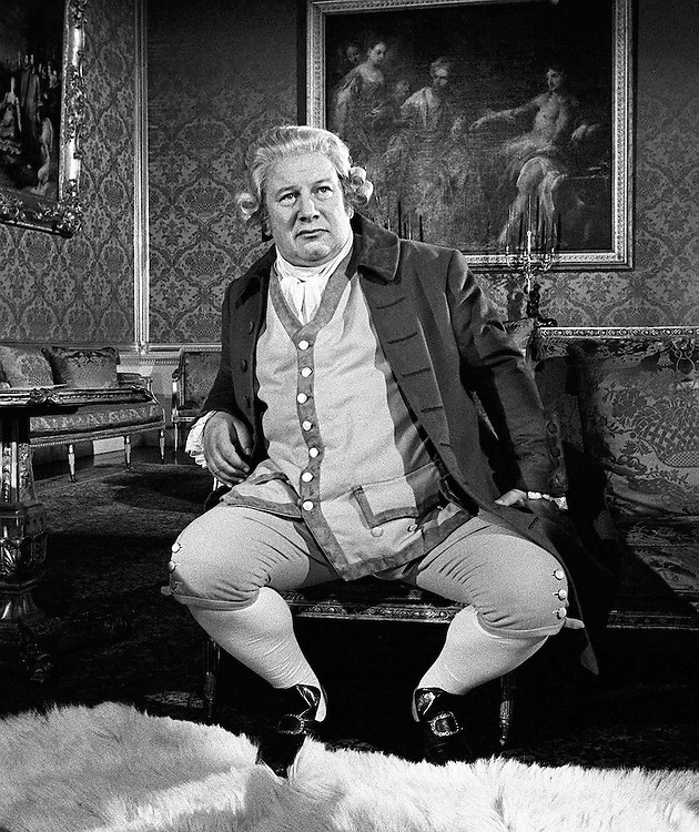 Actor, writer, film director Peter Ustinov  seen playing the part of Britain's King George 111 for a CBS television special called 'Last King of America' in 1973.Photographed by Terry Fincher