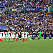 ORLANDO, FL - JUNE 18:  Both teams take a moment to pause in memory of the recent shooting during an MLS soccer match between the San Jose Earthquakes and the Orlando City SC at Camping World Stadium on June 18, 2016 in Orlando, Florida. (Photo by Alex Menendez/Getty Images) *** Local Caption ***