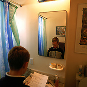 Trevor practices his poetry in the bathroom before he has to recite it to Jeanne during Language Arts class.