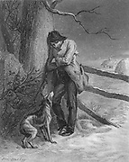 Steel engraving of a lone man freezing alone outside in the cold with his faithful dog, Roger. from Godey's Lady's Book and Magazine, Vol 101 July to December 1880 in Philadelphia