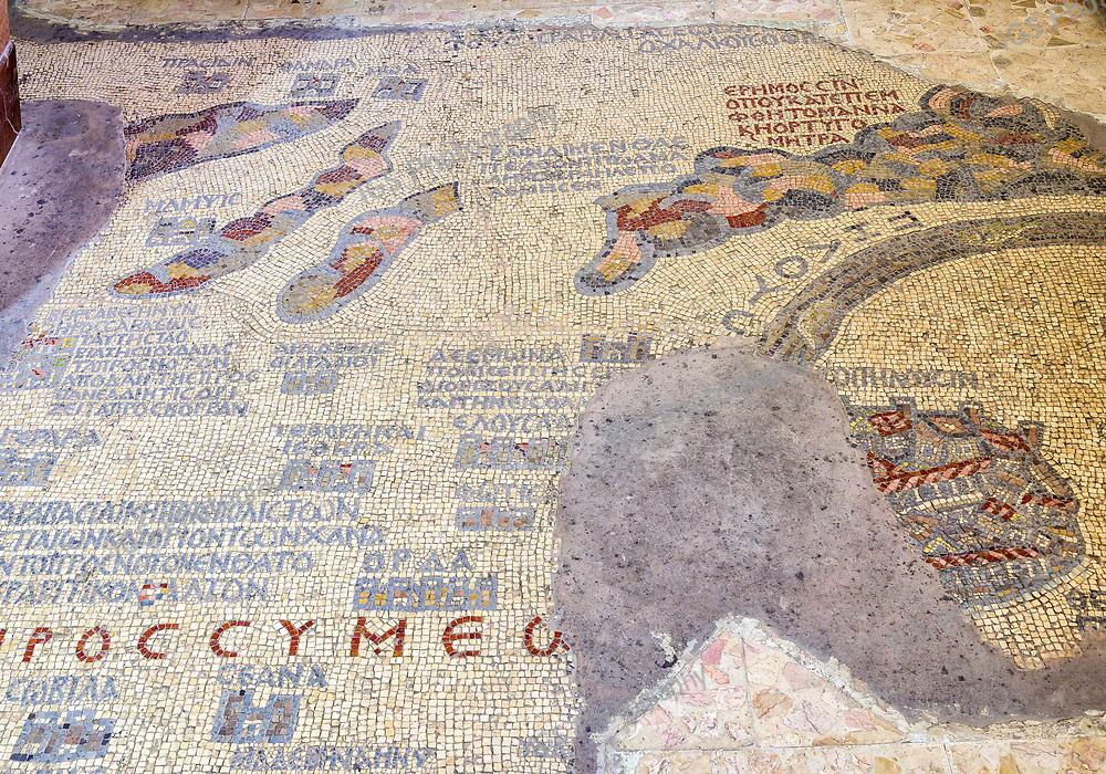 A portion  of the Madaba Map Mosaic in Saint George's Greek Orthodox Church in  Madaba, Jordan