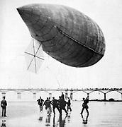 Alberto Santos-Dumont's airship No. 14 on the sands at Trouville, France. From 'La Vie au Grand Air', Paris, 1 September 1905. Dirigible Steerable Aviation Aeronautics