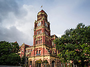 07 JUNE 2014 - YANGON, MYANMAR: The High Court building in Yangon was built in 1914 and was formerly called the Parliament of Justice. Yangon has the highest concentration of colonial style buildings still standing in Asia. Efforts are being made to preserve the buildings but many are in poor condition and not salvageable.    PHOTO BY JACK KURTZ