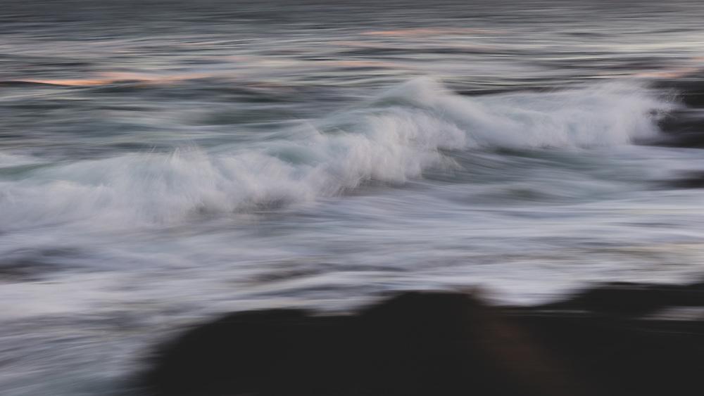 Waves churning along the coastline of Cape Neddick.