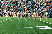 October 05, 2019:  Notre Dame cheerleaders perform prior to NCAA football game action between the Bowling Green Falcons and the Notre Dame Fighting Irish at Notre Dame Stadium in South Bend, Indiana.  Notre Dame defeated Bowling Green 52-0.