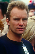 English musician, Sting appears at the first Sport Aid event Run the World in May 1986 at Londons Hyde Park England. Sport Aid  was a sport-themed campaign for African famine relief held in May 1986, involving several days of all-star exhibition events in various sports, and culminating in the Race Against Time, a 10 km fun run held simultaneously in 89 countries.[1] Timed to coincide with a UNICEF development conference in New York City, Sport Aid raised $37m for Live Aid and UNICEF.