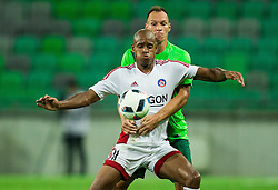 Dejan Kelhar of NK Olimpija vs Rangelo Janga of AS Trencin during 1st Leg football match between NK Olimpija Ljubljana (SLO) and FK AS Trenčin (SVK) in Second Qualifying Round of UEFA Champions League 2016/17, on July 13, 2016 in SRC Stozice, Ljubljana, Slovenia. Photo by Vid Ponikvar / Sportida