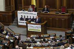September 27, 2016 - Kiev, Ukraine - Israeli President Reuven Rivlin has a speech during the parliamentary hearings on ''The 75th anniversary of the Babyn Yar tragedy: History Lessons and Modernity'' at Ukrainian Parliament Verkhovna Rada, September 27, 2016. President of Israel Reuven Rivlin visits Ukraine for the first state visit. (Credit Image: © Sergii Kharchenko/NurPhoto via ZUMA Press)